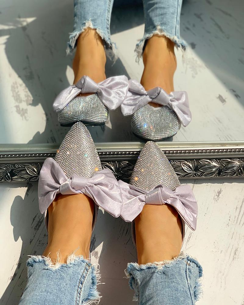 ivrose / Bowknot Studded Pointed Toe Flat Shoes