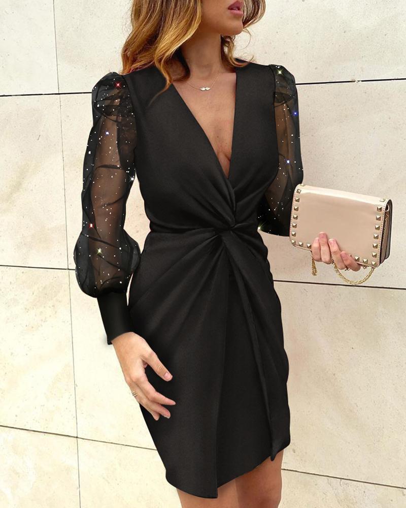 boutiquefeel / Vestido torcido de malha com glitter e bainha