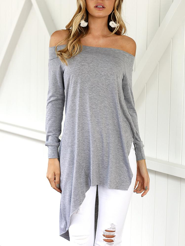 Asymmetric Trim Off Shoulder Casual Blouse