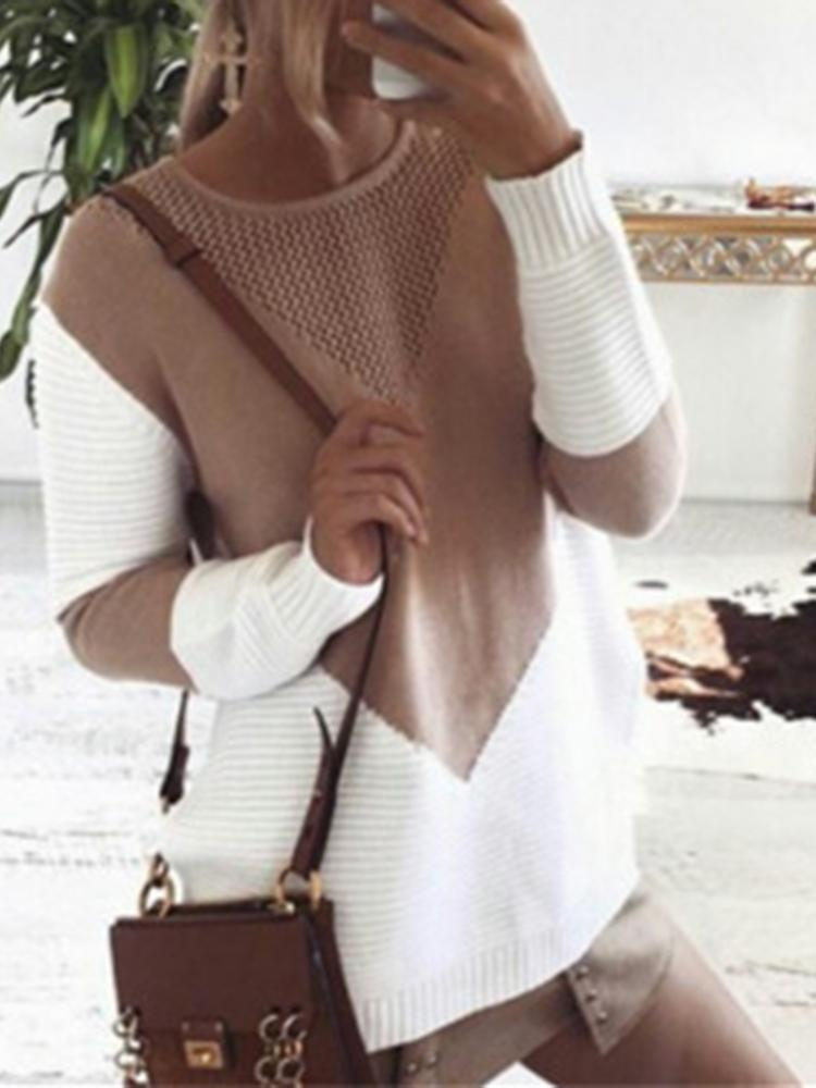 Autumn Color Block Knitted Loose Sweater