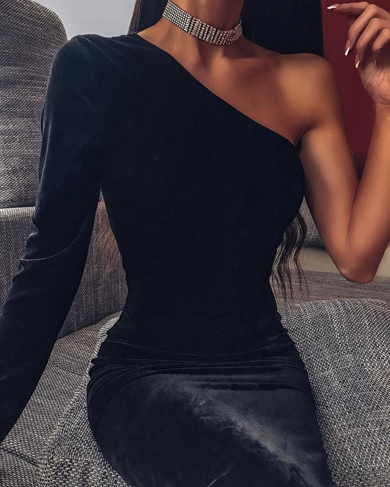 Solid One Shoulder Long Sleeve Bodycon Dress фото