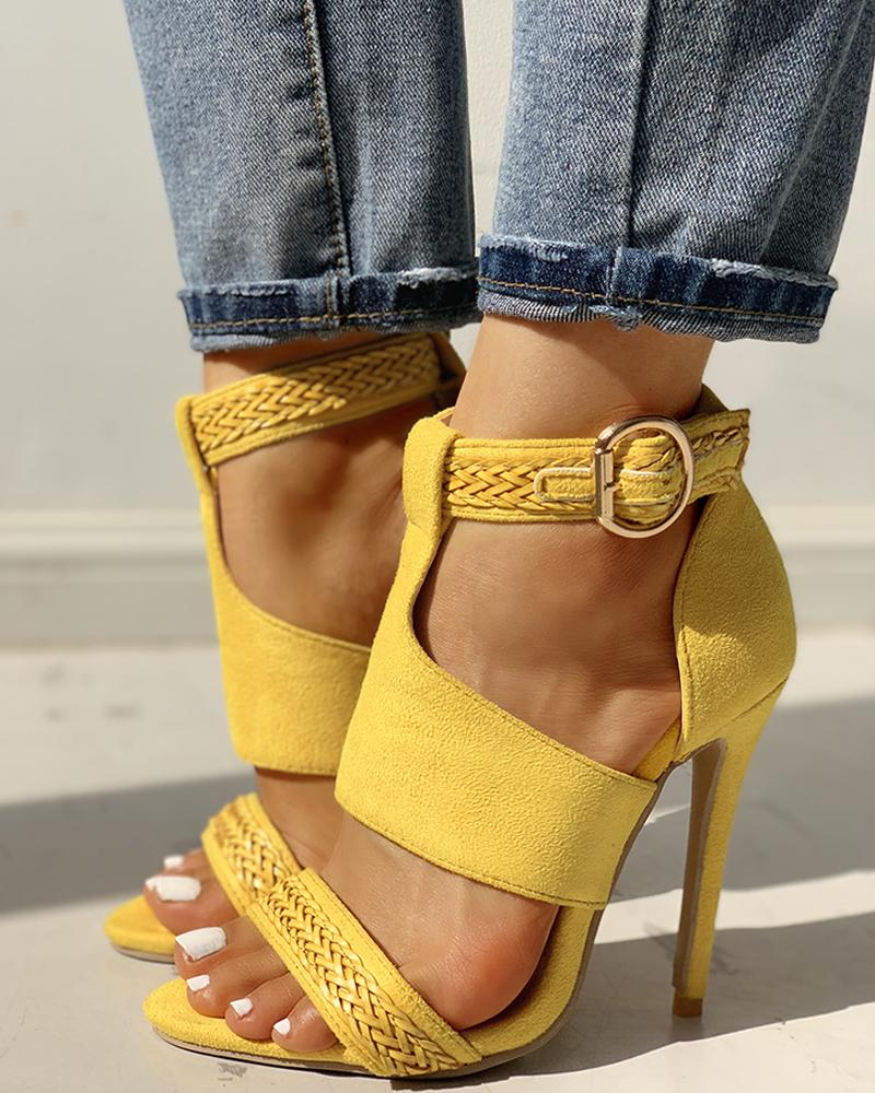 Suede Open Toe Braided Detail Thin Heels фото