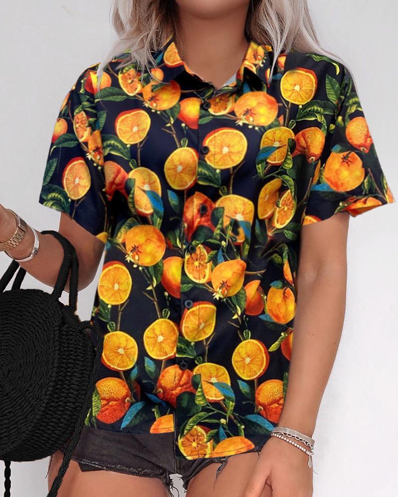 Oranges Print Bottoned Casual Shirt фото