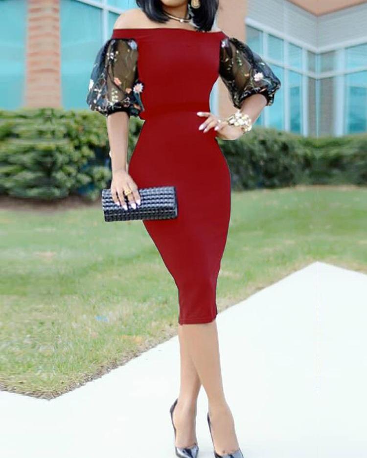 Sexy Bardot Embroidered Puff Sleeve Midi Dress фото