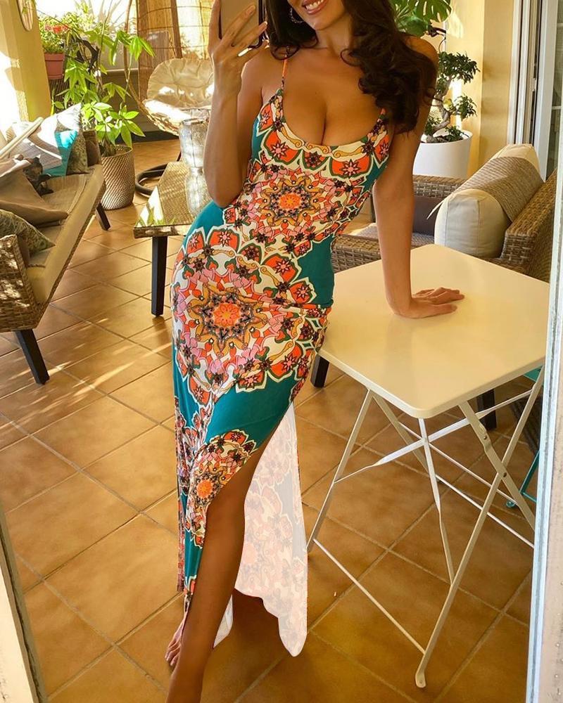 chicme / Vestido Maxi com Fenda e Cinta de Espaguete