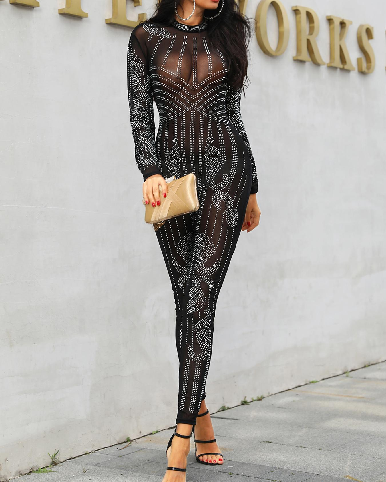 Glittering Embellished Mesh Skinny Jumpsuit фото