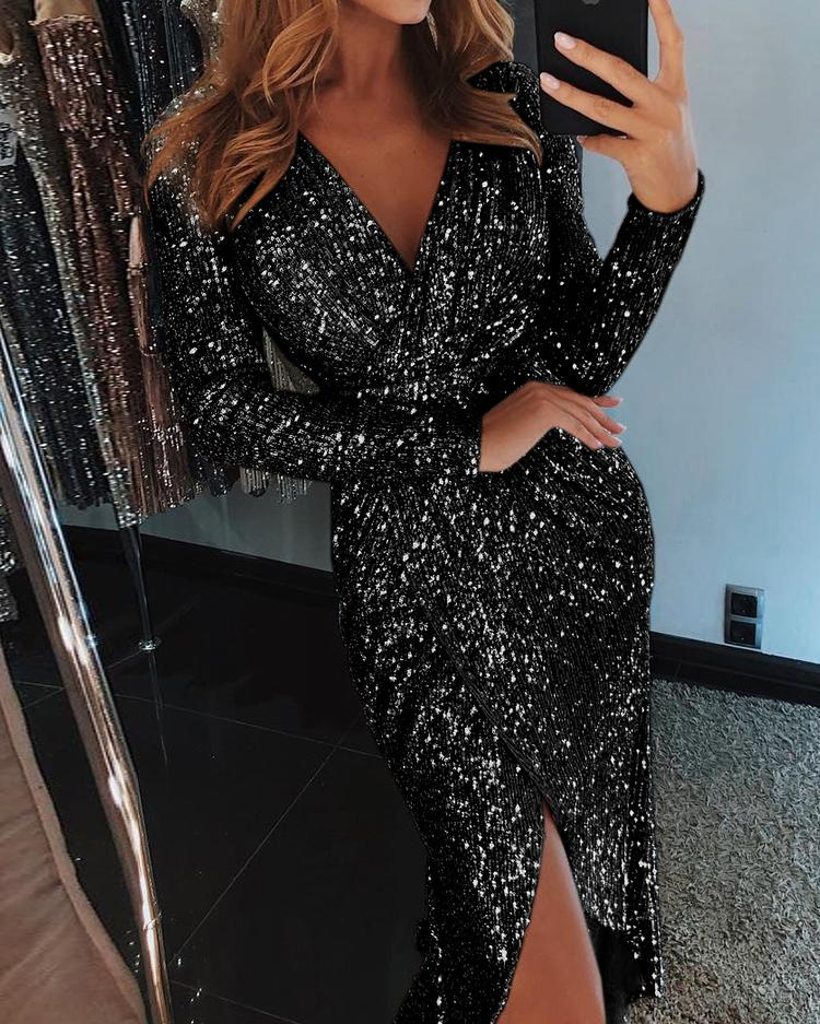 joyshoetique / Wrap Ruched Irregular Sequin Party Dresses