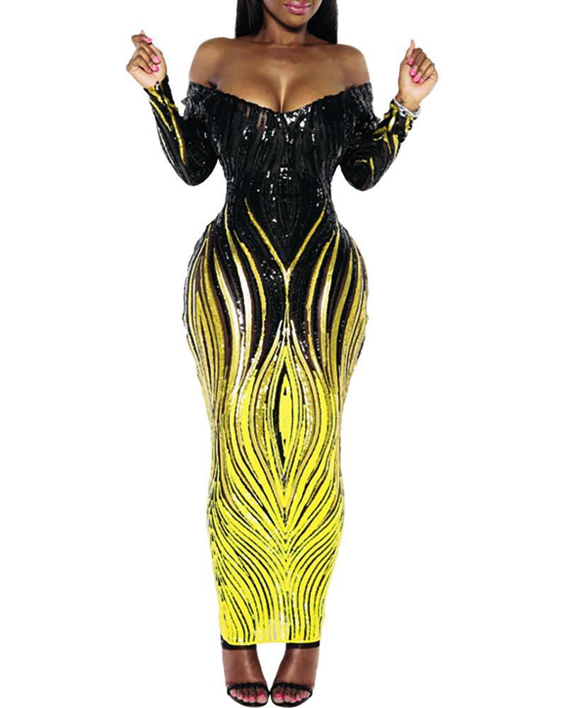 Glitter Off Shoulder Colorblock Sequins Dress фото