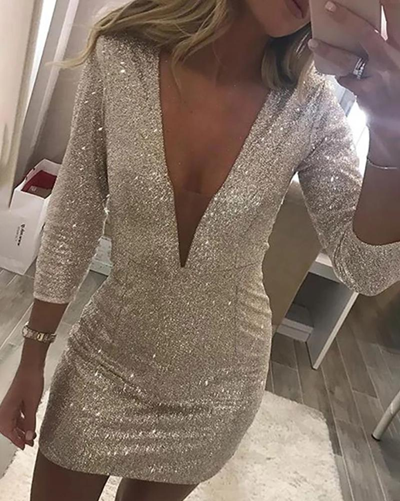 Glitter Plunge Sequins Bodycon Dress фото