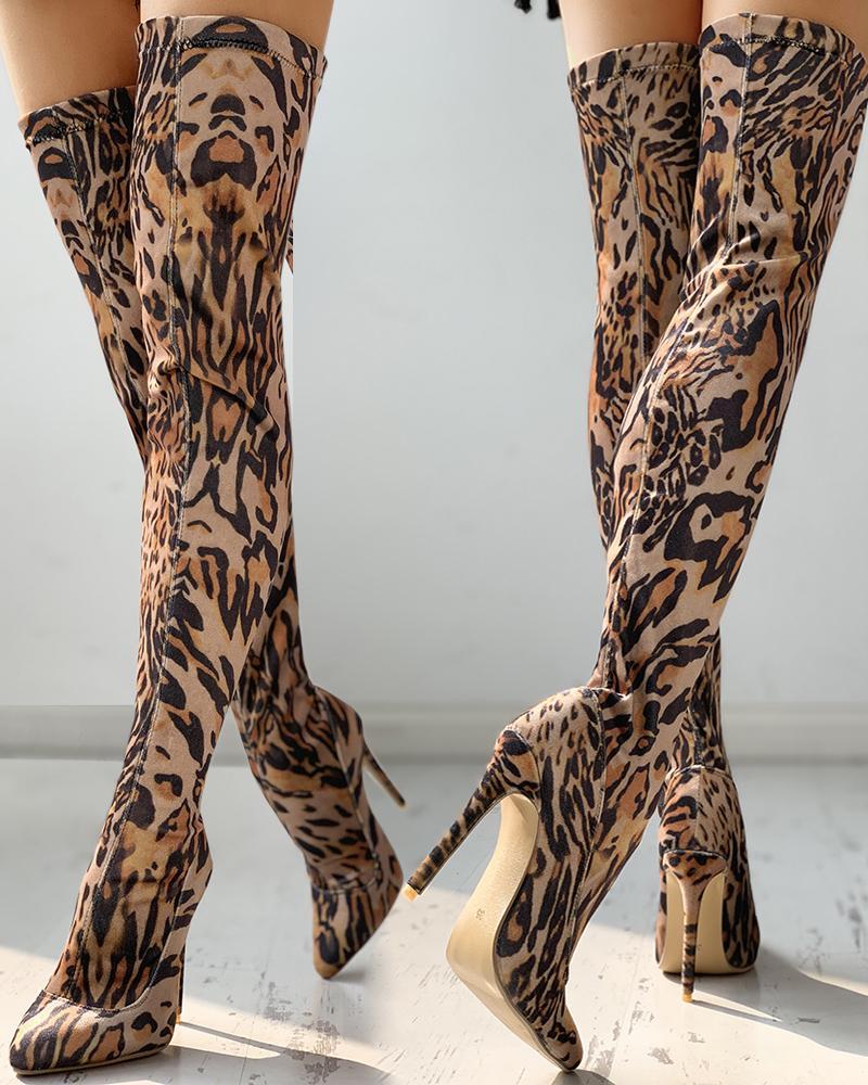 Leopard Print Thin Heeled Thigh High Boots