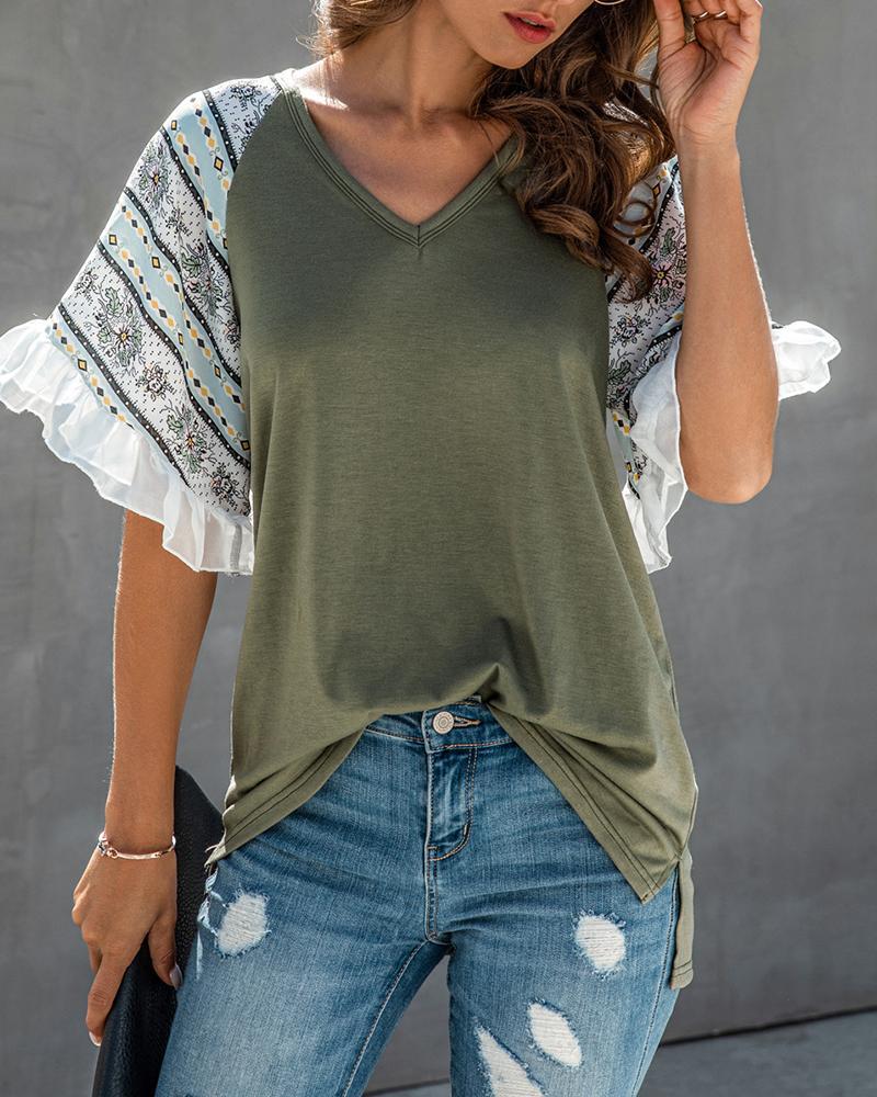 Print Ruffles V-neck Casual T-shirt фото