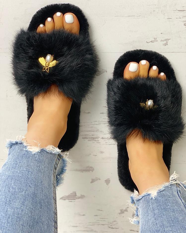 ivrose / Fluffy Metallic Embellished Open Toe Slippers