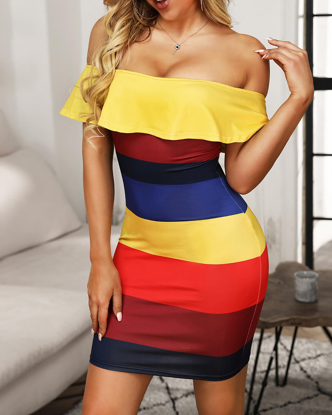 Rainbow Striped Flounce Off Shoulder Bodycon dress
