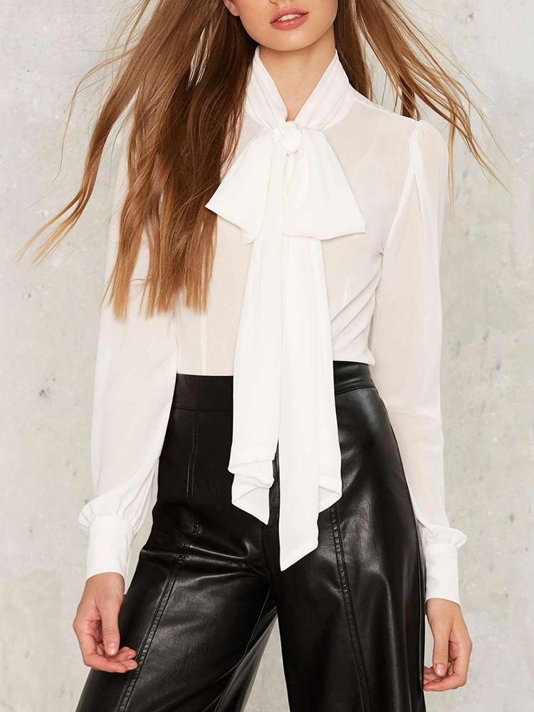 Sexy Sheer Bow Tied Neck Lantern Sleeve Blouse