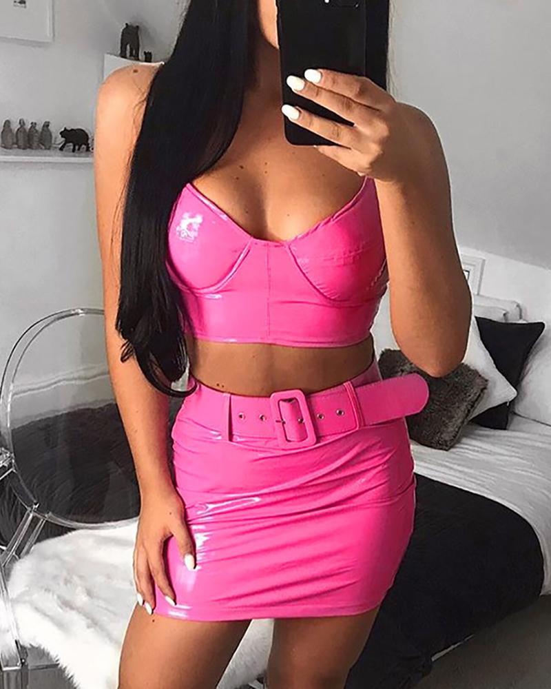 chicme / Cor de fluorescência Spaghetti Strap Top & Skirt Sets