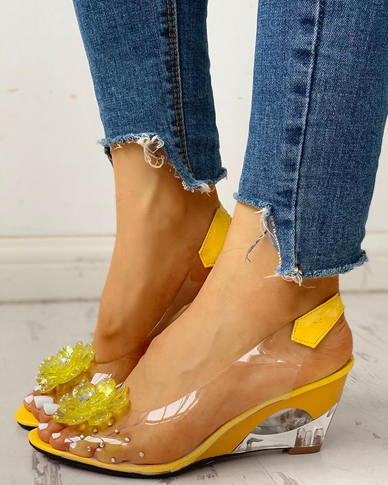ivrose / Studded Flower Design Transparent Wedge Sandals