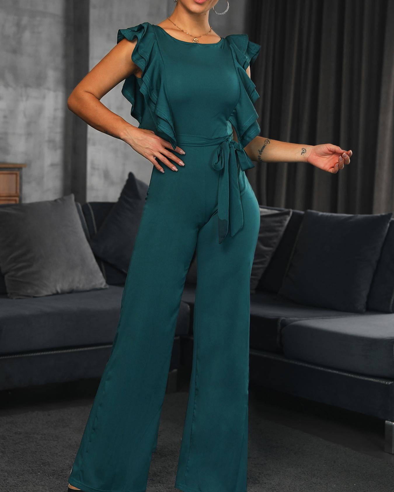 boutiquefeel / Layered Ruffles Low Back Belted Jumpsuit