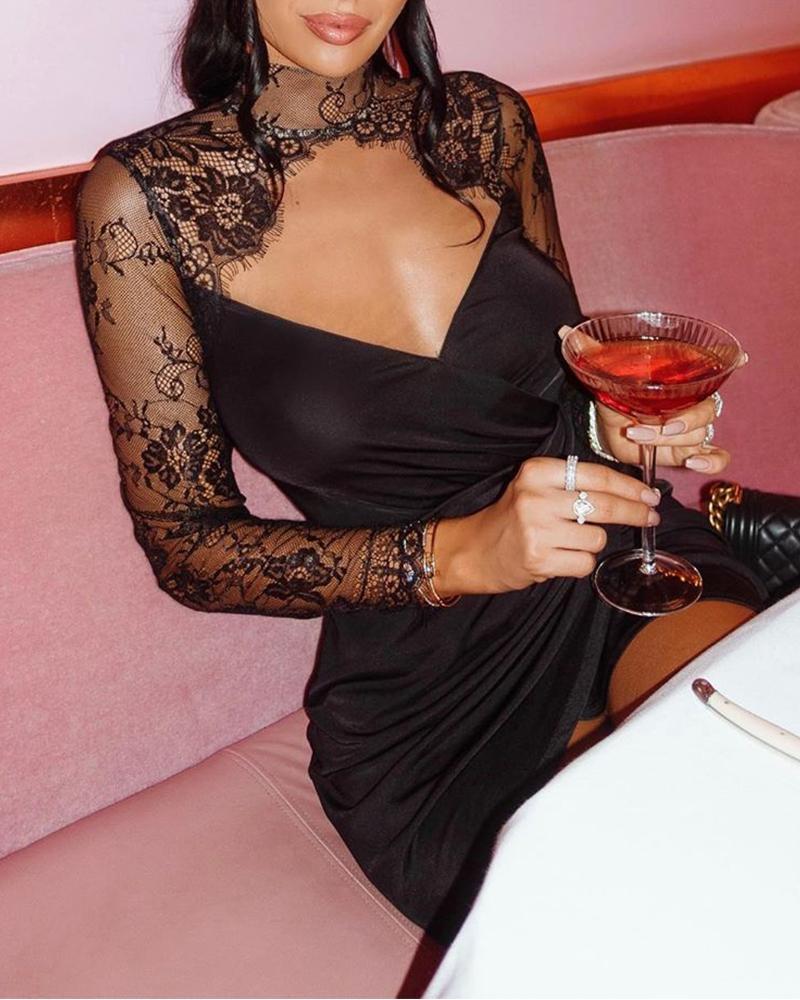 Mesh Lace Cut Out Dress фото