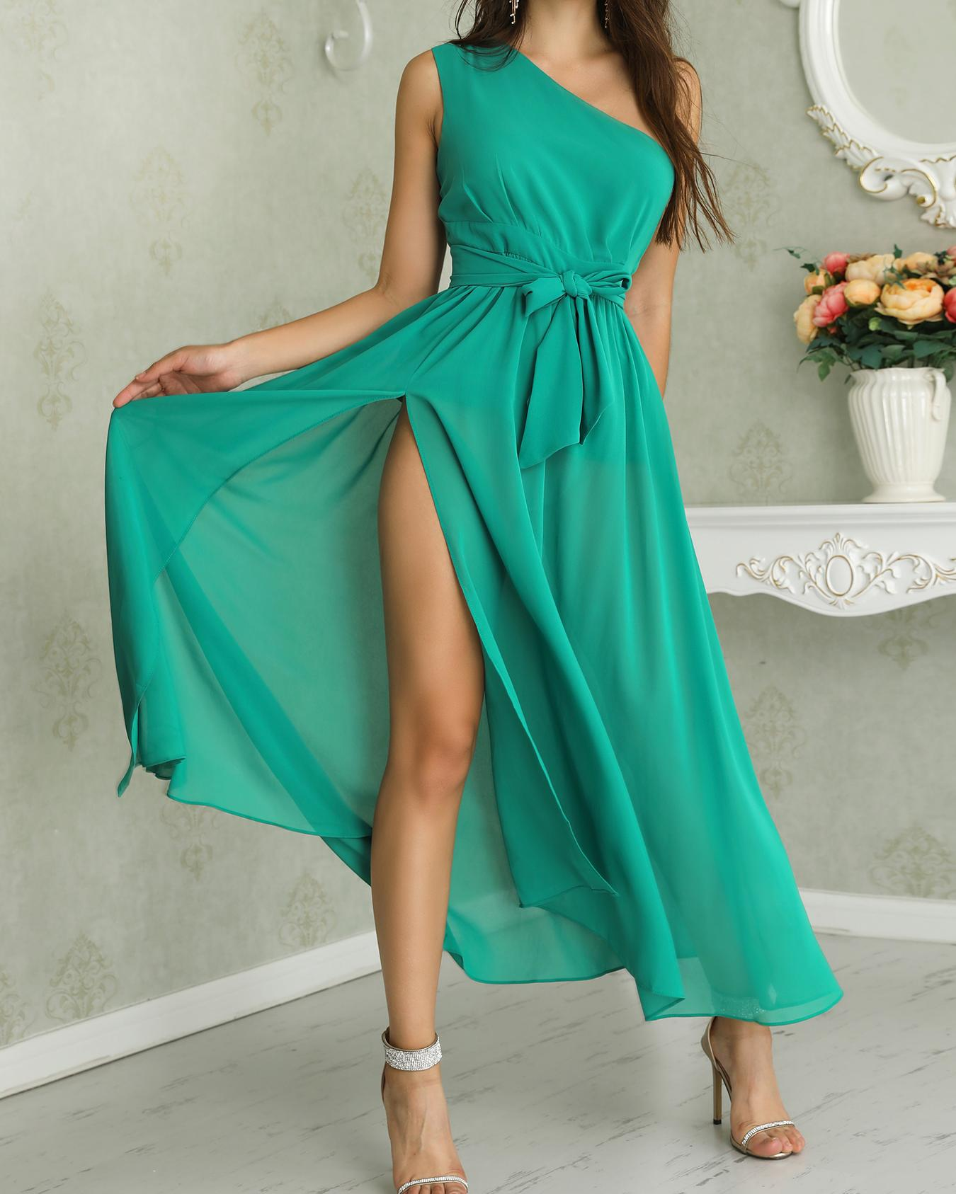 One Shoulder Tie Waist High Slit Maxi Dress фото