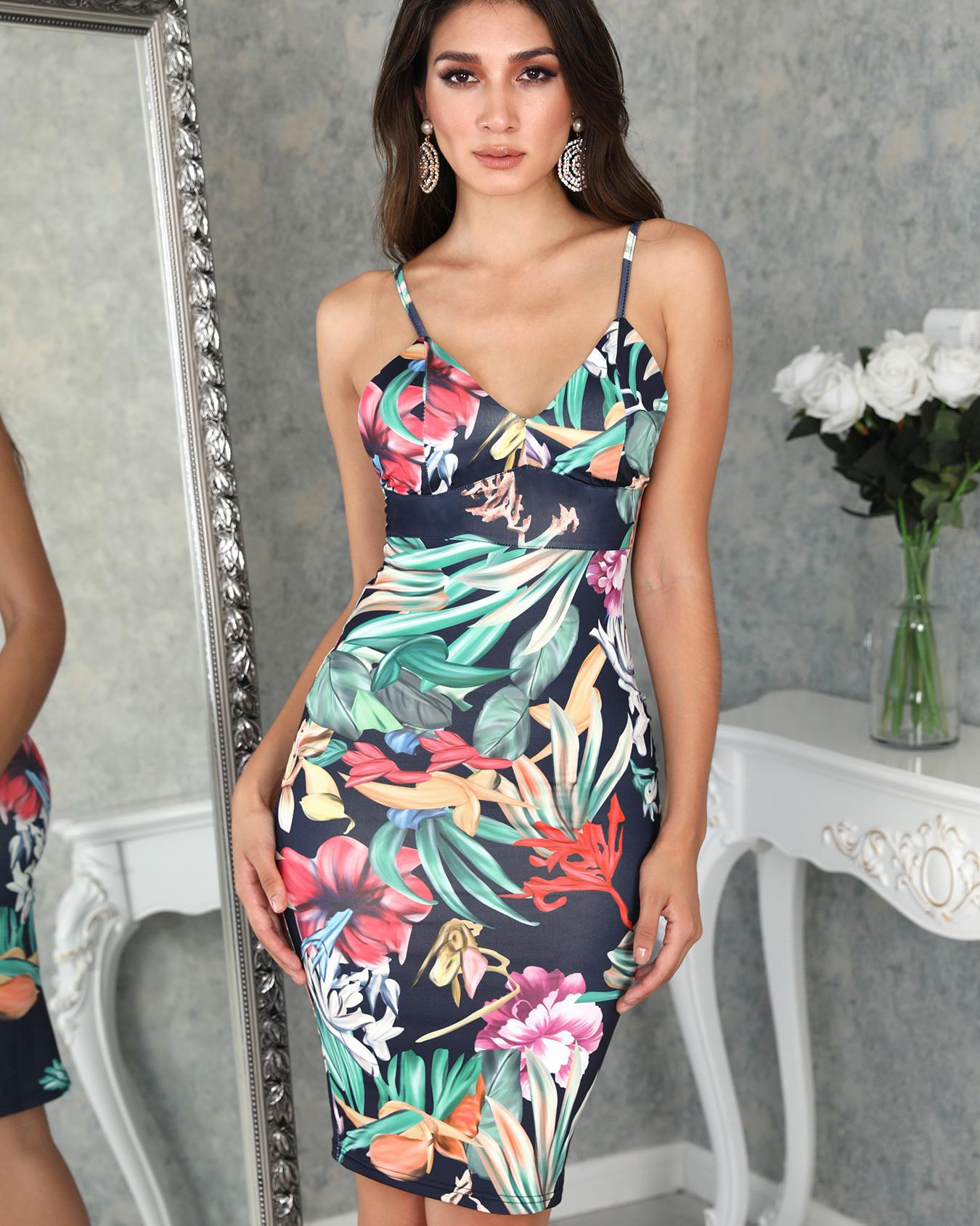 ivrose / Tropical Print Backless Bodycon Slip Dress