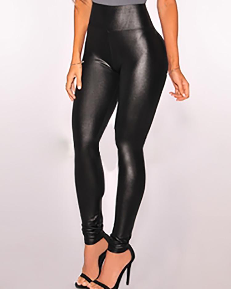 Купить со скидкой High Waist Stretchy PU Leggings Pants Tights