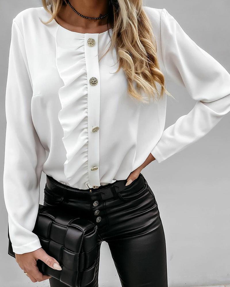 boutiquefeel / Blusa con botones y volantes lisos