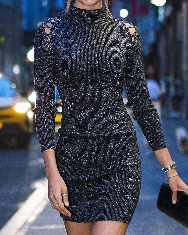 Lace-Up Eyelet Long Sleeve Bodycon Dress, Black