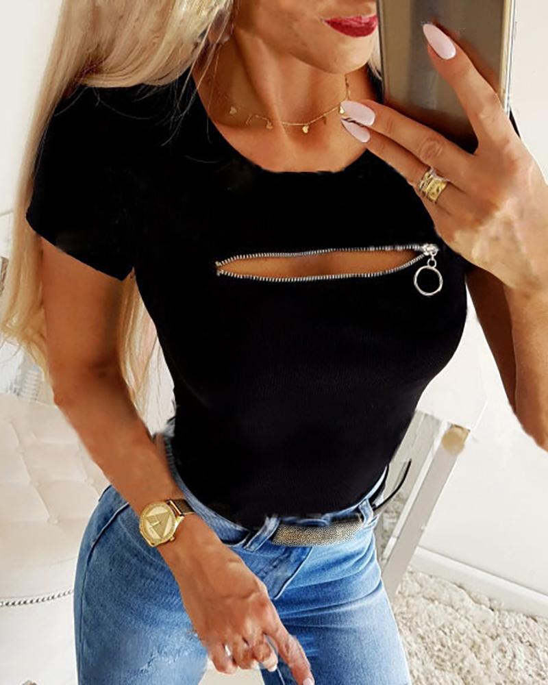 Solid Zipper Design Casual T-shirt фото