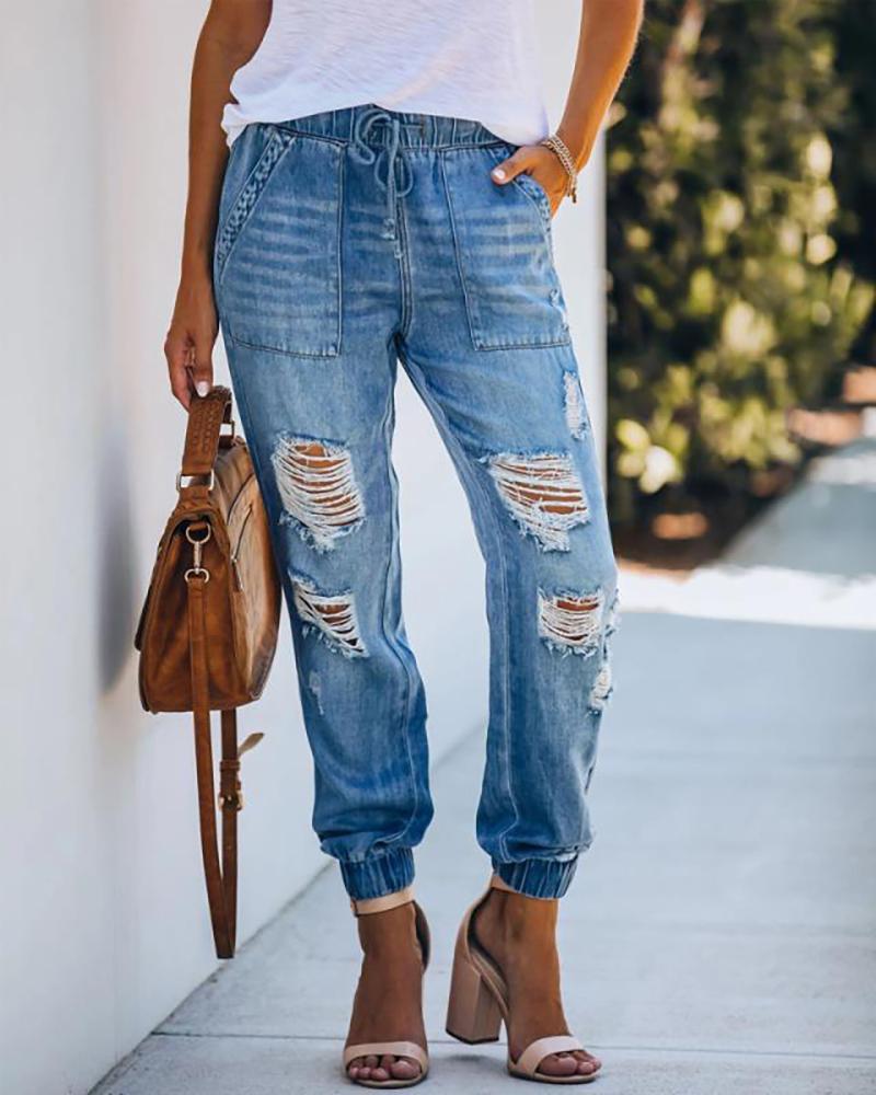 chicme / Calça jeans rasgada com recorte com design de bolso