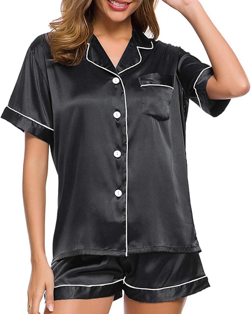 Colorblock Satin Button Design Pajamas Set фото