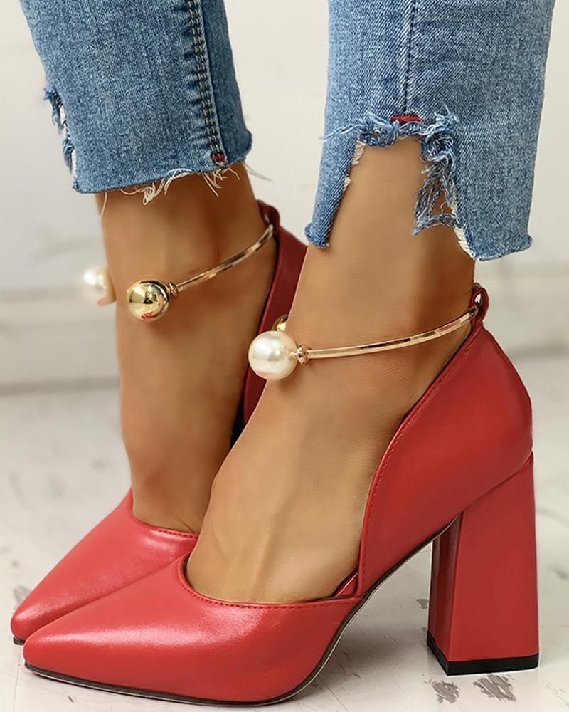 Solid Pointed Toe Beaded Chunky Heels, Red