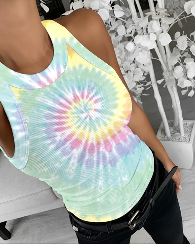 Tie Dye Print Sleeveless Casual Top фото