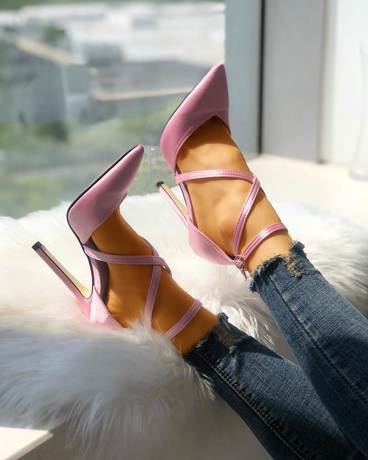 Solid Strappy Buckle Pointed Toe Heels