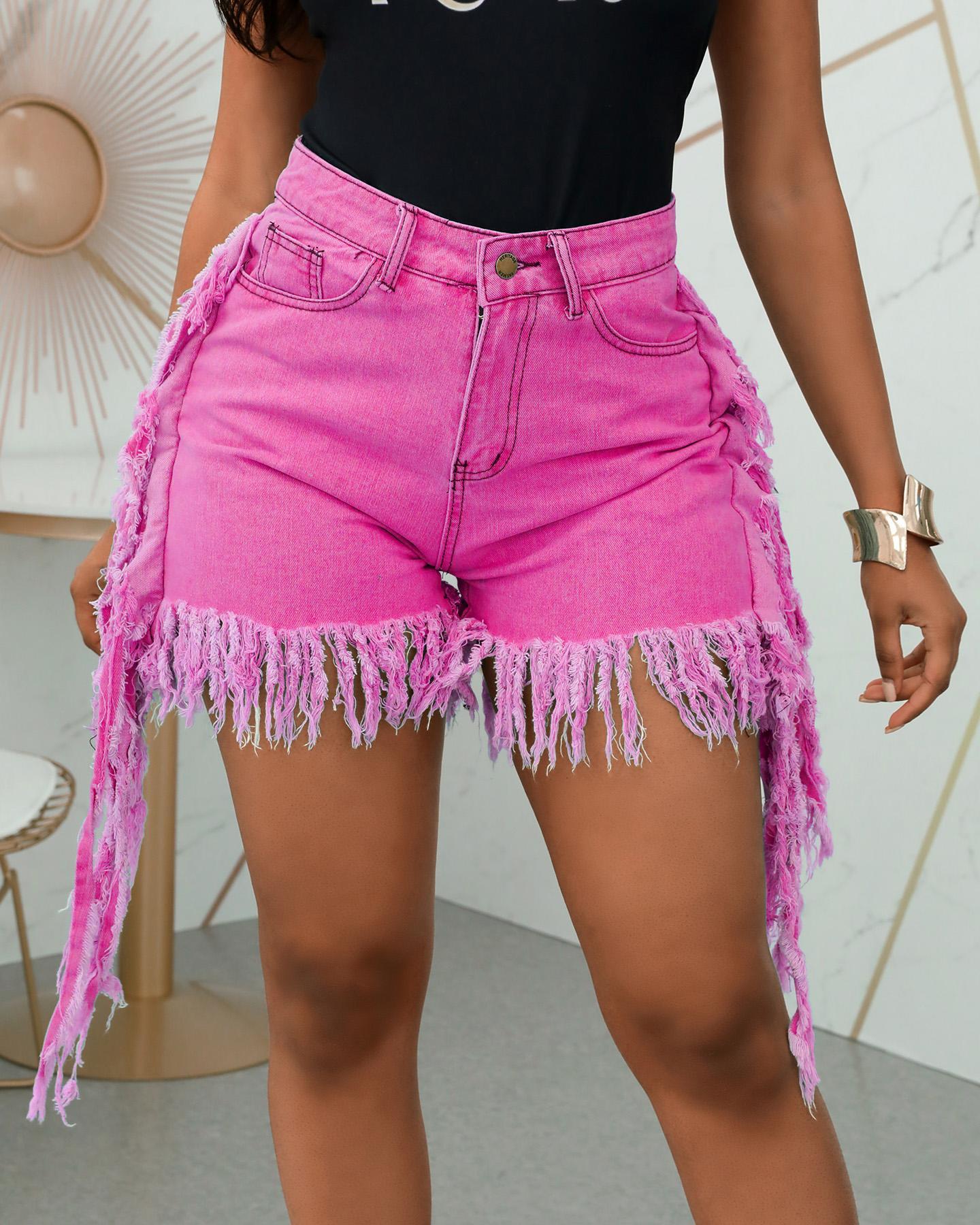 High Waist Pocket Tassel Denim Shorts фото