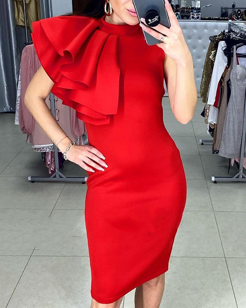 Mock Neck Ruffle Bodycon Dress, Red