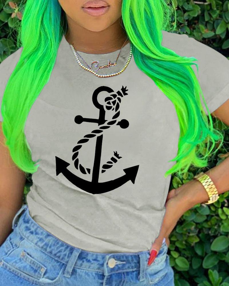 Boat Anchor Rope Print Casual T-shirt фото
