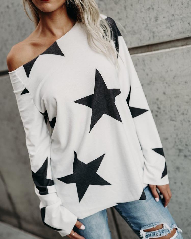 Fashion Star Print One Shoulder Casual Top фото