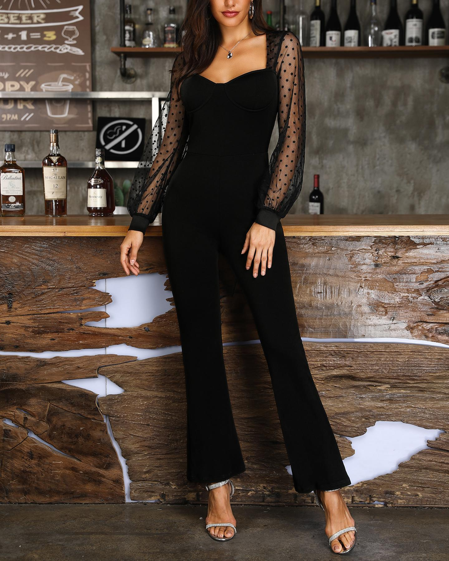 Dots Mesh Sleeve Low Cut Jumpsuit фото