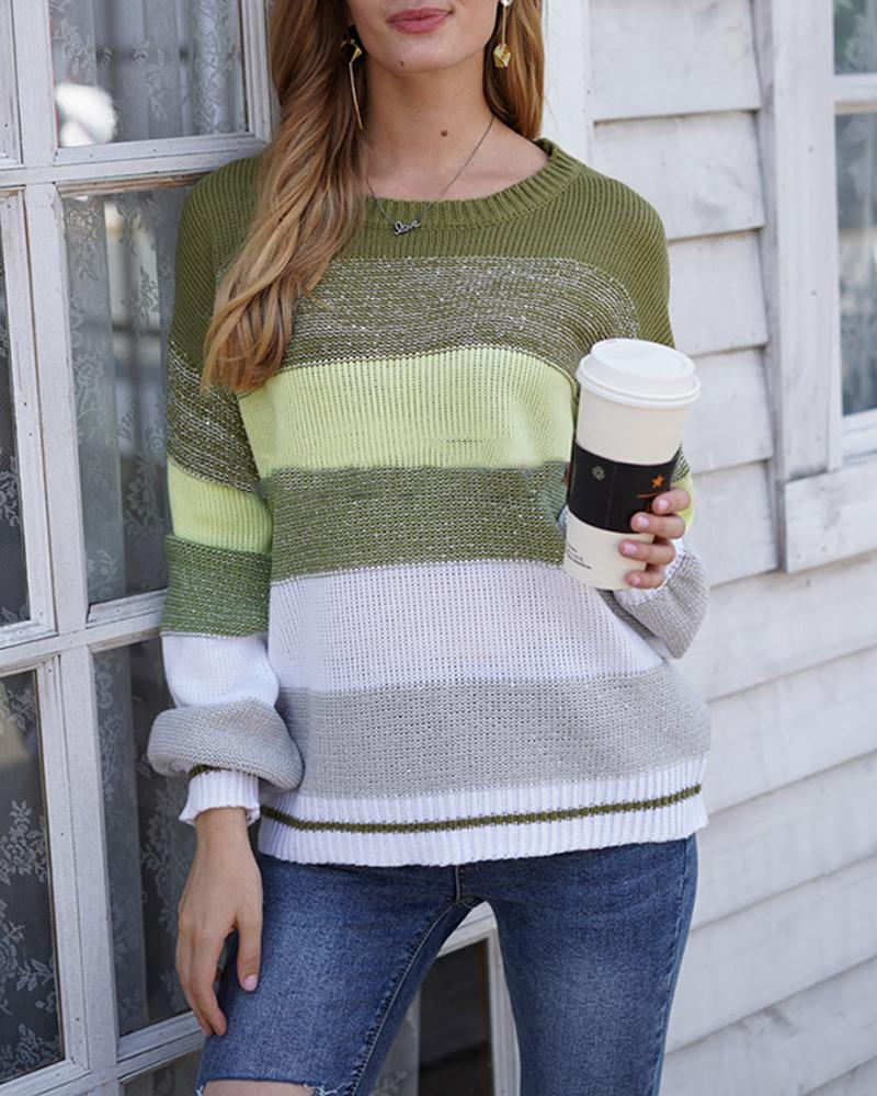 Corlorblock Striped Loose Long Sleeve Sweater фото