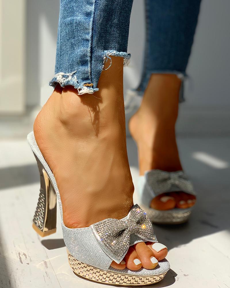 Studded Bowknot Platform Chunky Heeled Sandals фото