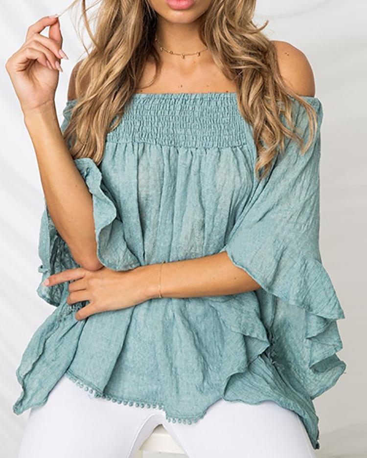 Solid Shirring Off Shoulder Flare Sleeve Blouse, Blue