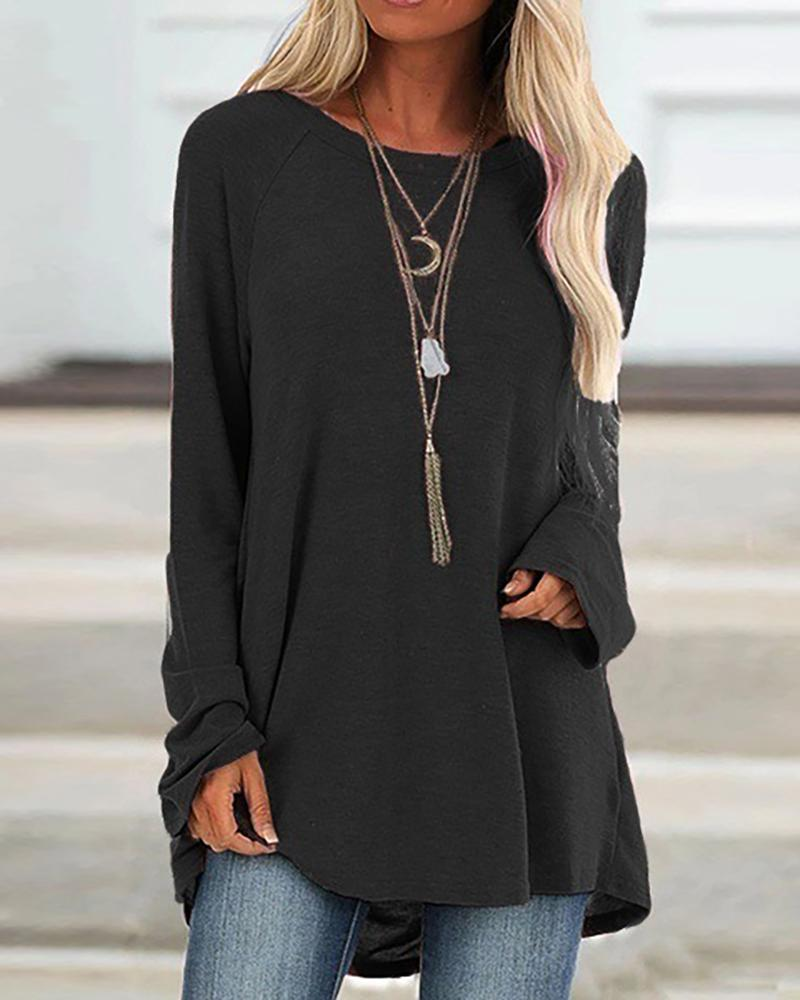 Solid Loose Long Sleeve Casual Top фото