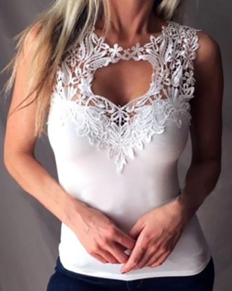 Lace Trim Cutout Sleeveless Top фото