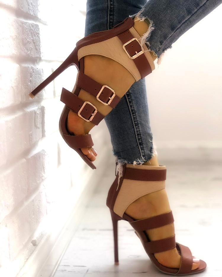 Contrast Color Ladder Buckle Stiletto Heels