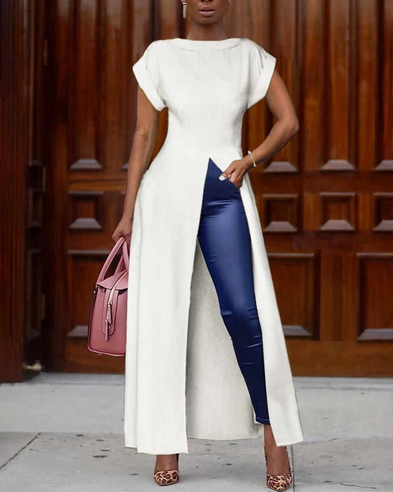 Short Sleeve Solid Color High Split Top, White