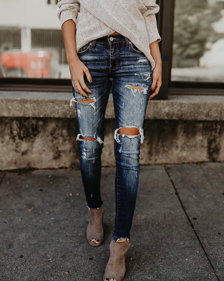 joyshoetique / Holey Frayed Hem Distressed Jeans