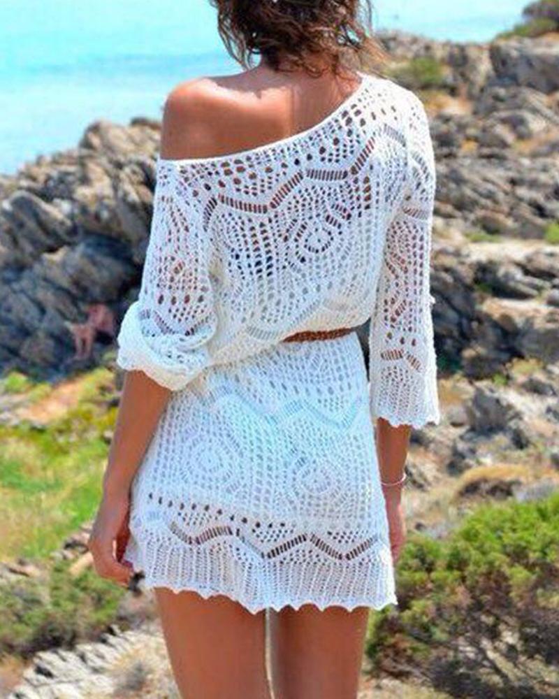 Crochet Off Shoulder Beach Cover Up фото