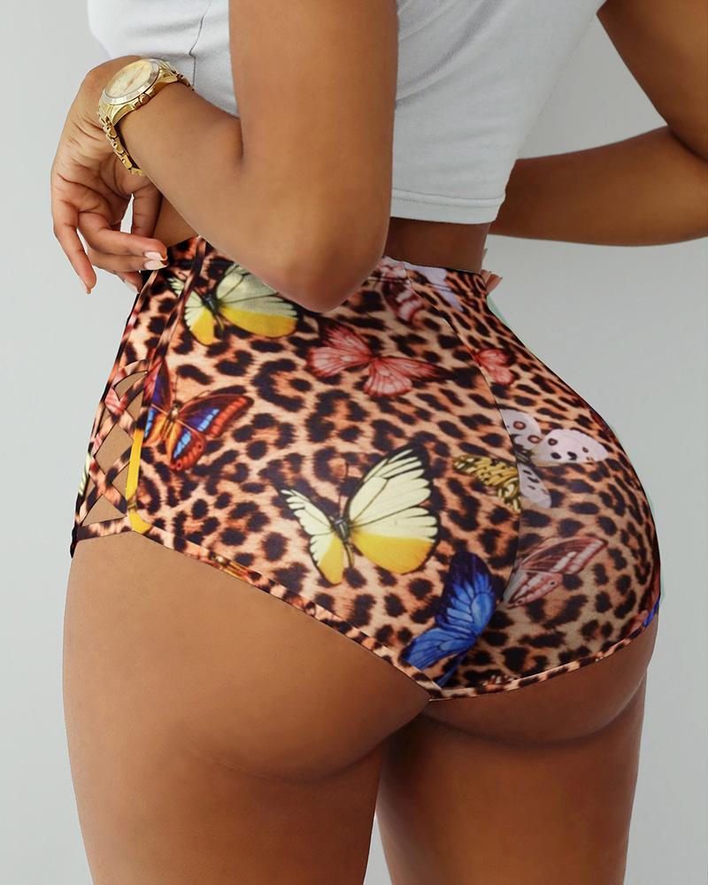 Cheetah Butterfly Print Bandage Sporty Shorts, Leopard