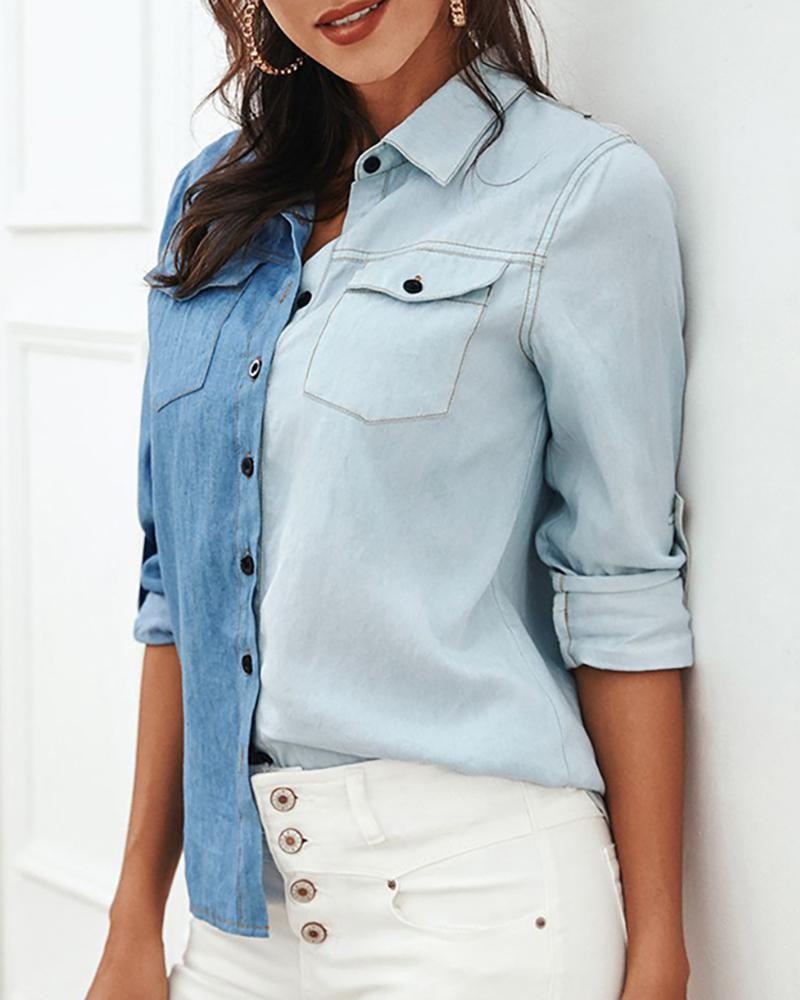 ivrose / Turn-down Collar Colorblock Insert Pocket Denim Shirt