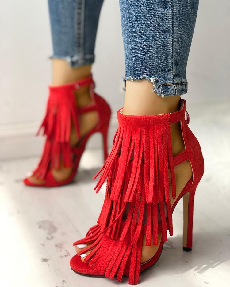 Fashion Solid Tassel High Heel Sandals фото